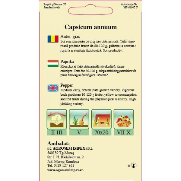 Seminte de ardei gras galben superior, 0,4 grame