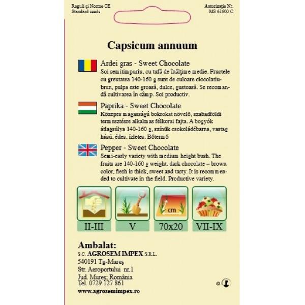 Seminte de ardei gras Sweet Chocolate, 0,2 gram