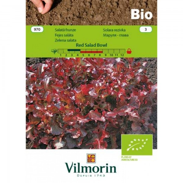Seminte bio de salata de taiat red salad bowl, 3 grame, vilmorin