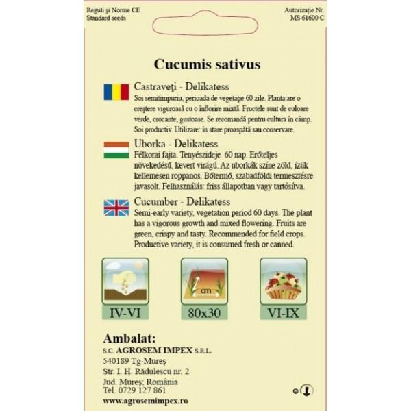 Seminte de castraveti cornichon Delikatess - 1,5 grame