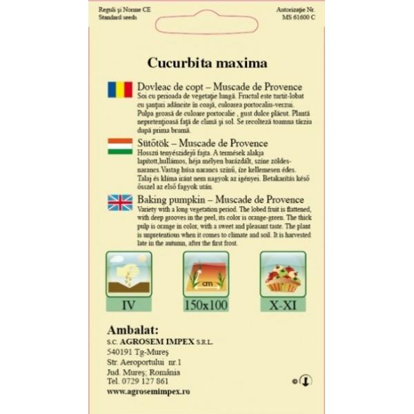 Seminte de dovleac de copt Muscade de Provence, 1 Kg