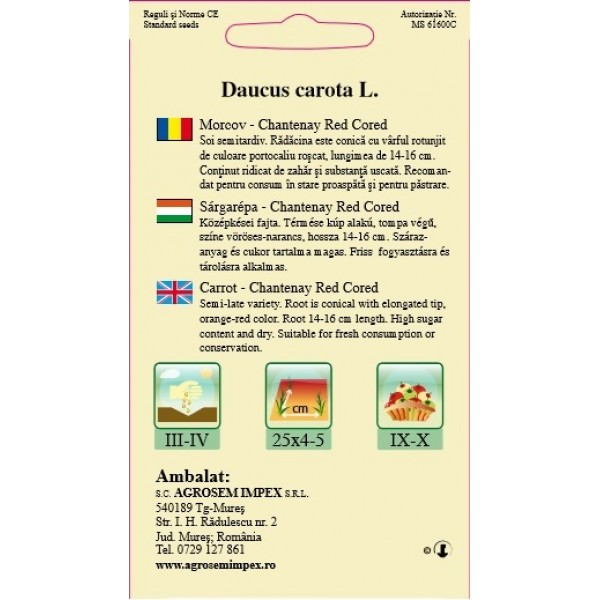Seminte de morcov Chantenay Red Cored, 4 grame