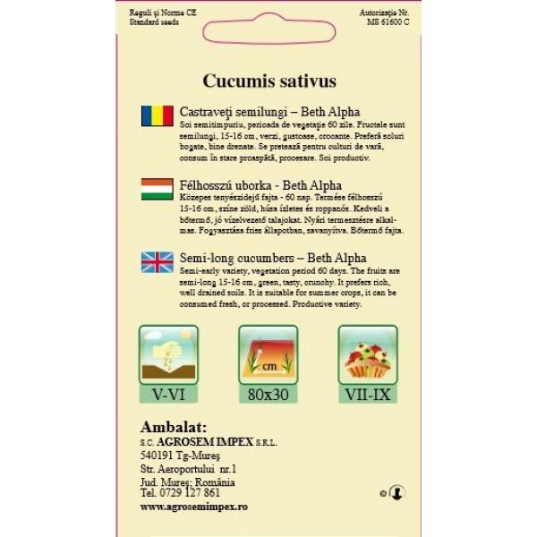 Seminte de castraveti semilungi Beth Alpha, 1,5 grame
