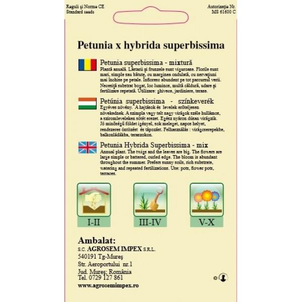 Seminte de petunia Superbissima F1, 0,01 grame
