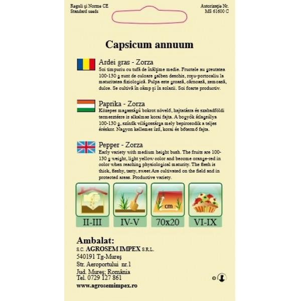 Seminte de ardei gras Zorza, 0,4 grame