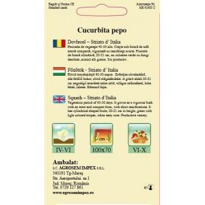 Seminte de dovlecel striato d italia, 3 grame