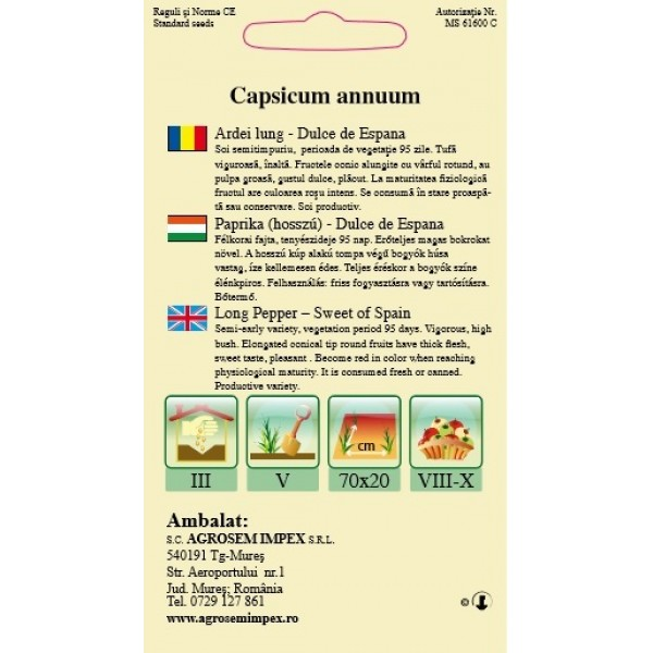 Seminte de ardei lung dulce de espana, 0,5 grame