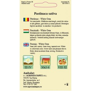 Seminte de pastarnac white gem, 3 grame