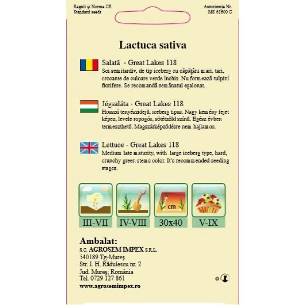 Seminte de salata de gheata great lakes, 2 grame