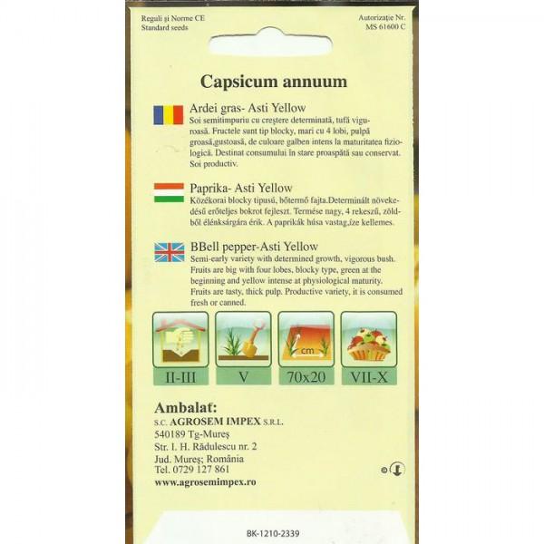 Seminte de ardei gras Asti Yellow, 1 gram, Agrosem