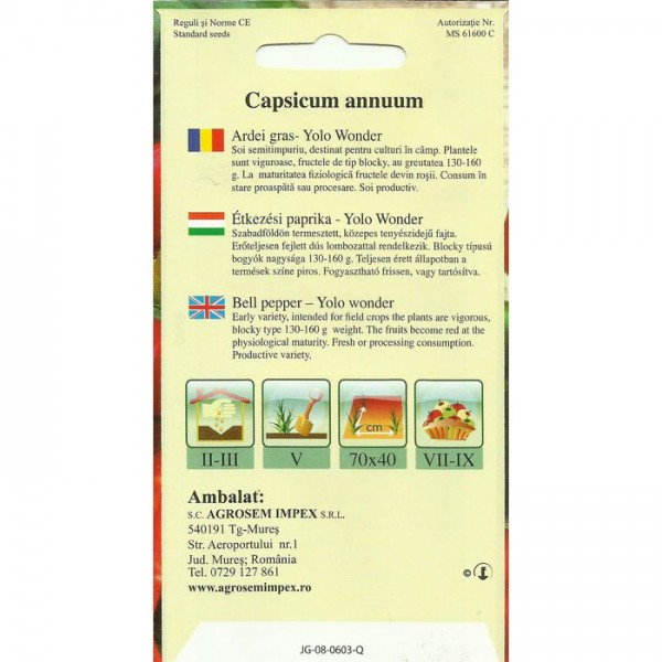 Seminte de ardei gras Yolo Wonder, 1 gram