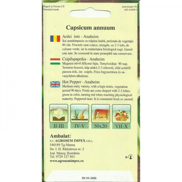 Seminte de ardei iute Anaheim, 0,5 grame, Agrosem
