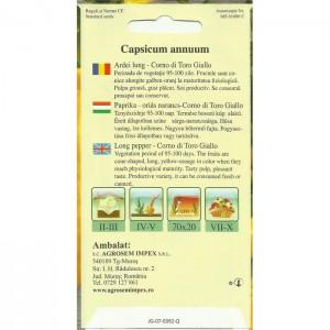 Seminte de ardei lung Corno di Torro Giallo, 0,5 grame