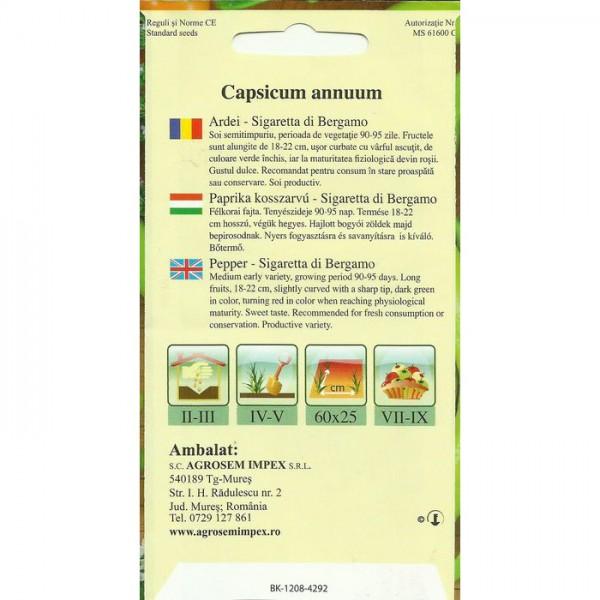 Seminte de ardei iute Sigaretta di Bergamo, 0,5 grame, Agrosem