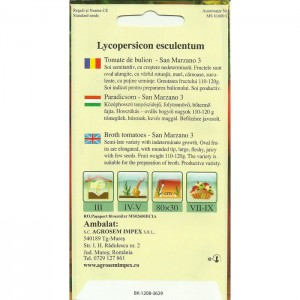 Seminte de tomate pentru bulion San Marzano 3, 0,5 grame
