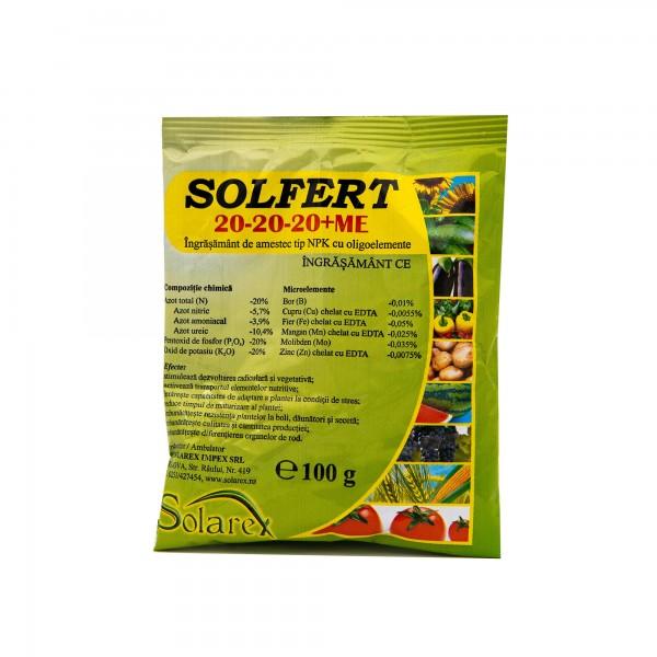 Ingrasamant foliar Solfert 20-20-20+ME, 100 grame, Solarex