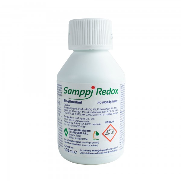 Ingrasamanat foliar tip NPK,  8-3-3 + Mg + Ca, Samppi Redox, 100 ml