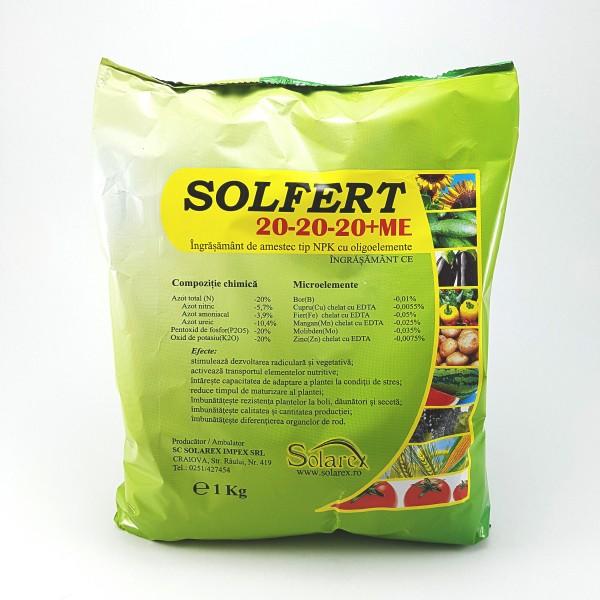Ingrasamant foliar Solfert 20-20-20+ME, 1 Kg, Solarex