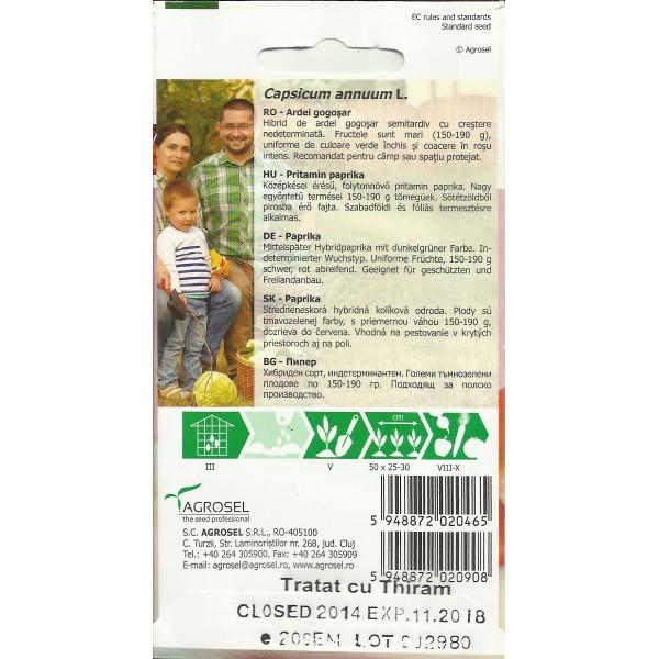 Seminte de ardei gogosar semitimpuriu Traian F1 (AS2 - 220), 20 seminte, PG-3, Agrosel