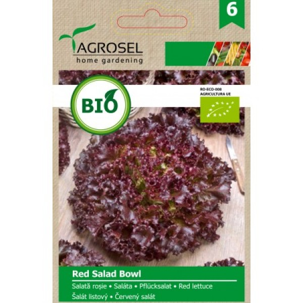 Seminte BIO de salata rosie Red Salad Bowl, 2.5 grame, PG-6, Agrosel