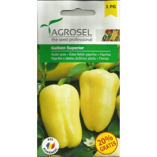 Seminte de ardei gras galben superior, 0,5 grame, Agrosel
