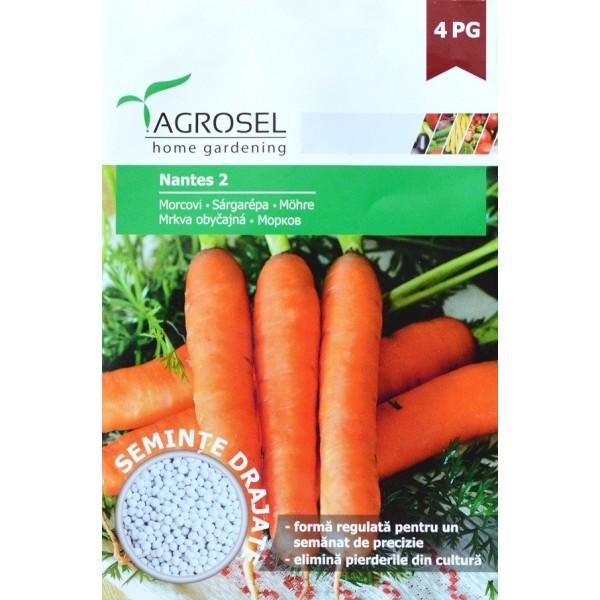 Seminte drajate de morcovi Nantes 2, 500 seminte, Agrosel