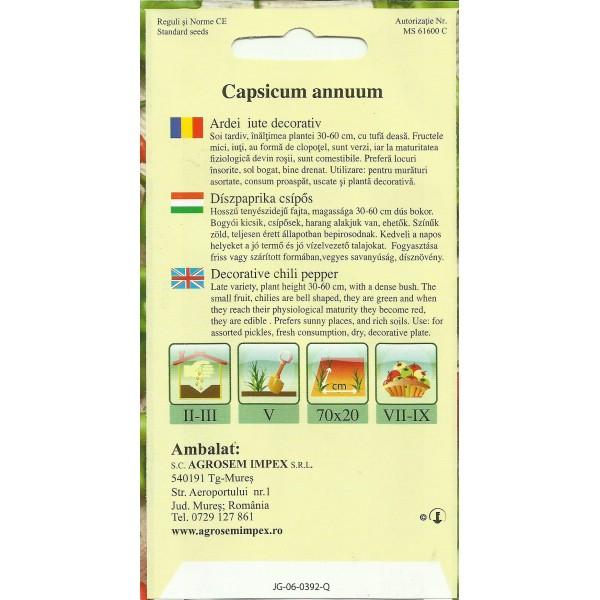 Seminte de ardei iute timpuriu decorativ tip clopot, 7 seminte, Agrosem