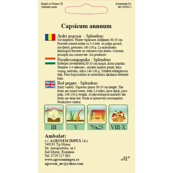 Seminte de ardei gogosar Splendens, 0,3 grame