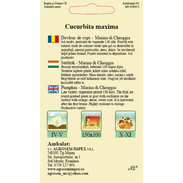 Seminte de dovleac pentru copt Marina di Chioggia, 2 grame