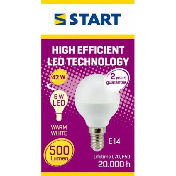 Bec led mat, Clasic P, G45, 6W, E14, echivalent 40W, 3000K, 470lm, Start