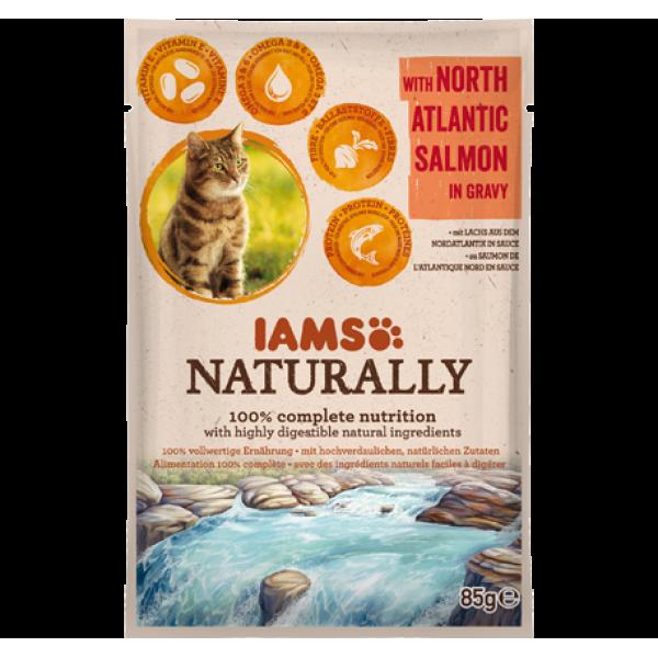 IAMS, mancare naturala pt. pisici adulte cu somon in sos, 85 grame