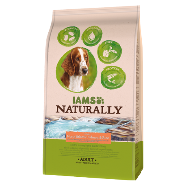 IAMS, mancare naturala pt. caini adulti cu somon si orez, 800 grame