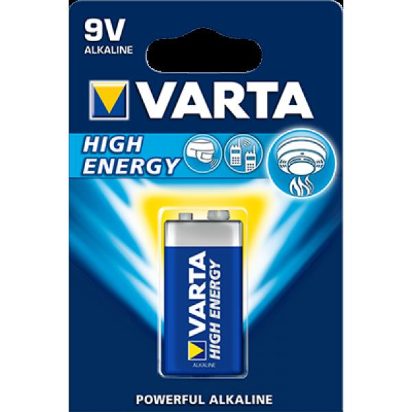 Baterie alcalina High Energy, 9 V, 6LR61, Varta