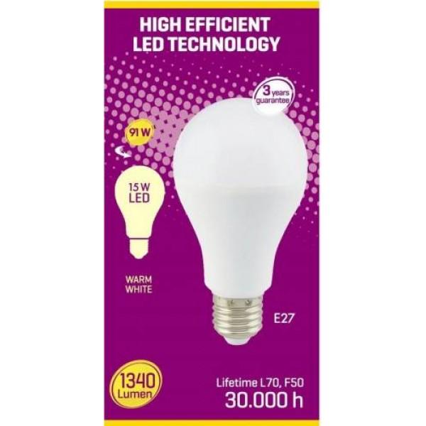Bec led mat, Clasic A, A65, 15W, E27, echivalent 100W, 3000K, 1500lm, Start