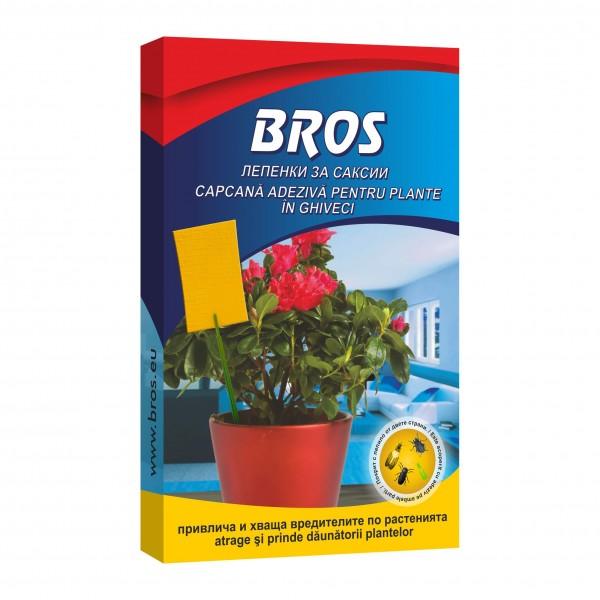 Placi adezive galbene impotriva daunatorilor pentru ghivece cu flori, 10 bucati, Bros