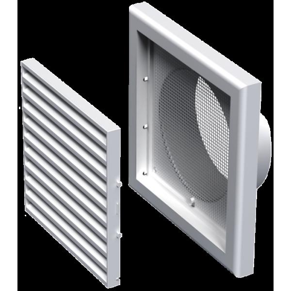 Grila de ventilatie alba pentru fatada, lungime 187 mm, diametru 125 mm, Evotools