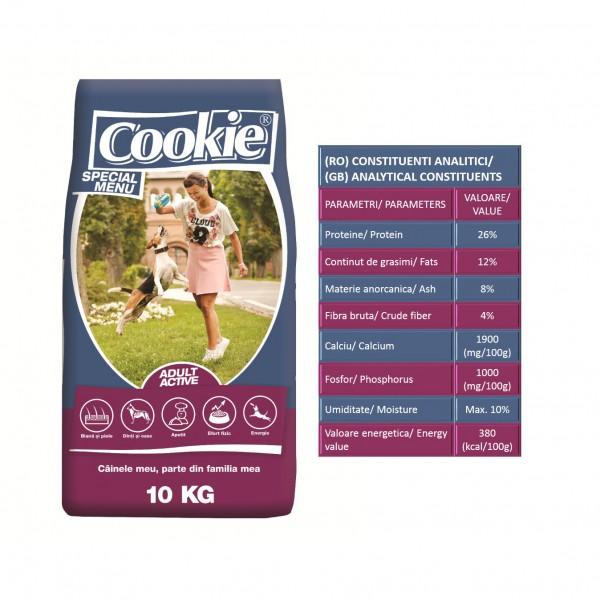 Hrana uscata Cookie Special Menu adult active pentru caini - 10 kg