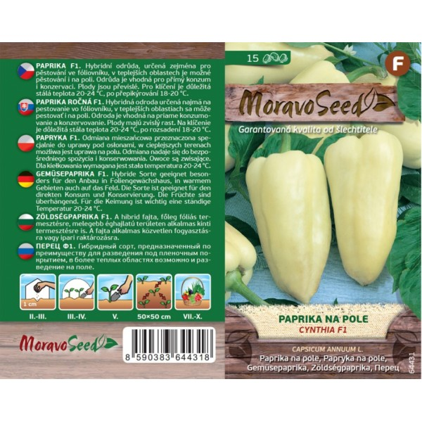Seminte de ardei kapia Cynthia F1, 15 seminte, Moravo Seed