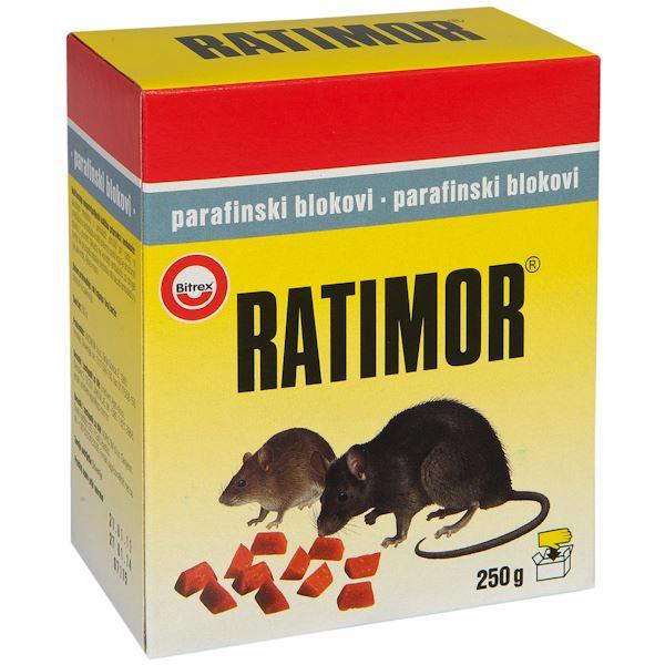 Ratimor, blocuri de parafina pentru soareci si sobolani, 250 grame